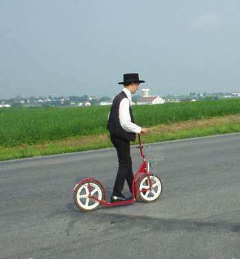 Image result for amish child riding scooter