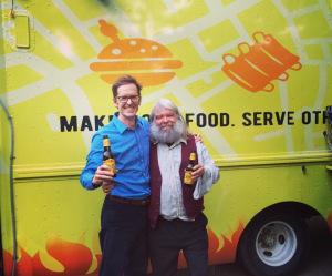With the Theologian David Taylor in front of a Texan Bishop's Taco Truck!